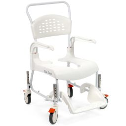 Roll-in bath shower chair that will adjust in height. Can use it over the commode as well